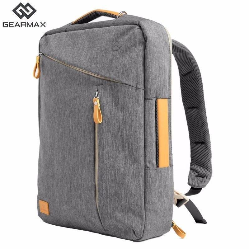Gearmax portátil mochilas para 15,6 de 17,3 pulgadas/azul/Color gris de lona impermeable Mochila De Cuero genuino de la bolsa para Macbook portátil - 2