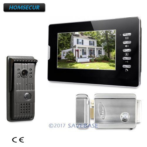 HOMSECUR 1V1+ Electric Lock 7inch Wired Video Door Phone Intercom System with Intra-monitor Audio Intercom v70h l 1v1 xsl manufacturer 7 inch color water proof video door phone system and audio intercom door phone for villa