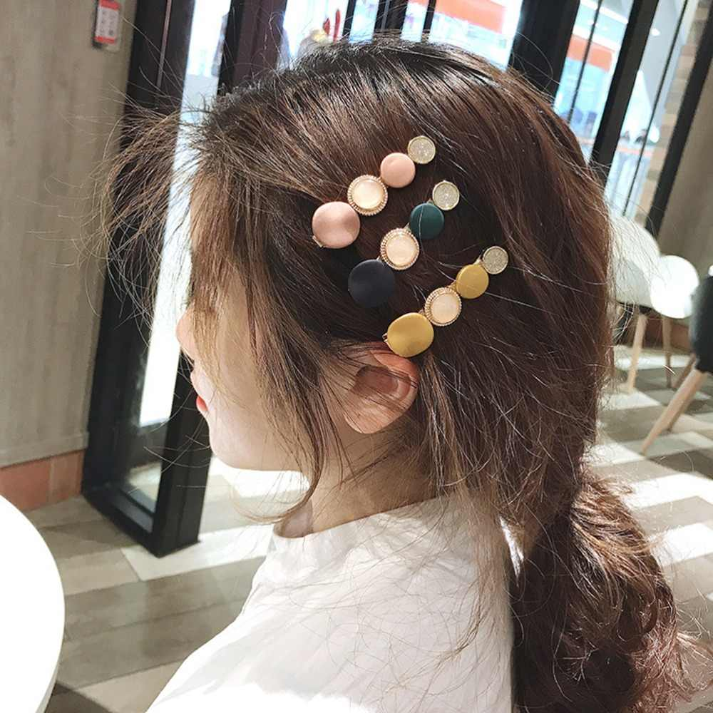Ins Simple Fashion Macaron Disc Hair Clips for Women Round Rhinestone Candy Colors Hairpins Girls Party Barrette cheveux fille