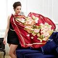 110 см Темно-красный Цветок Печатных Элегантный Чистого шелка wrap женская большой Площади Шелковый Шарф, креп-сатин равнине площади шелковые шарфы