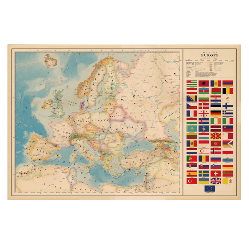 Europe Map With National Flag Poster Size Wall Decoration Large Map Of The Europe 80x53 Waterproof Canvas Map