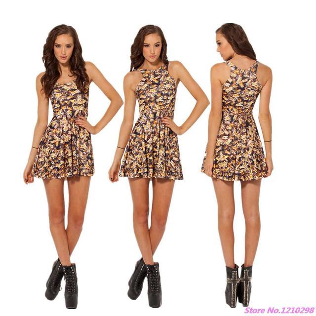 dc5076d72 € 12.77 |Multi abeille imprimé robe patineuse femmes a ligne plissée  impression robe Slim réversible Tennis robe loisirs Mini robe d'été sans ...