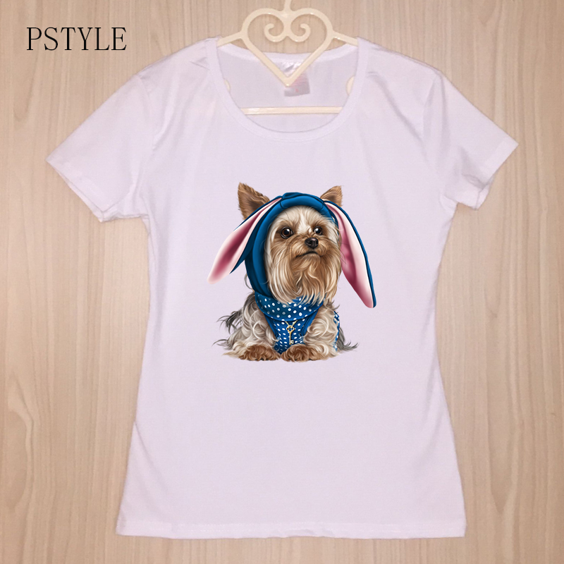 Summer Women 39 s T Shirt Harajuku Kawaii Dog Animal Design Lovely Tees Shirts Cute Little Yorkshire Terrier Puppy Print White Tops in T Shirts from Women 39 s Clothing