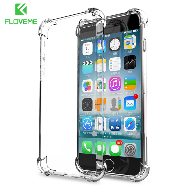FLOVEME Anti-knock Case for iPhone 6 6s 7 Plus X Cases for iPhone 7 8 Plus Transparent Silicone Cover Case For iPhone X Capinhas