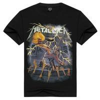 Tee Men Black T Shirt 100 Cotton Metallica Skull Print Heavy Metal Rock Hip Hop Clothing