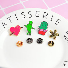 Pins and Brooches Duck cactus milk alien cat flower heart Hard Enamel Pins Badges Backpack Bag Pins Collection(China)