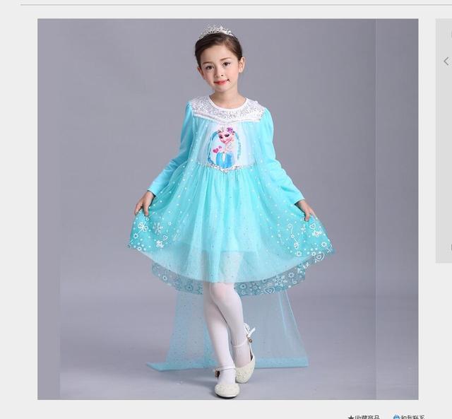 Frühling und Herbst Stil Mädchen Kleid Prinzessin Elsa Kleid Kinder ...