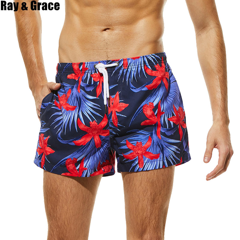 RAY GRACE Men   Board     Shorts   Print Quick Drying Beach   Shorts   Mens Breathable Swimwear Bermuda Surf Swimming   Short   Summer Beachwear