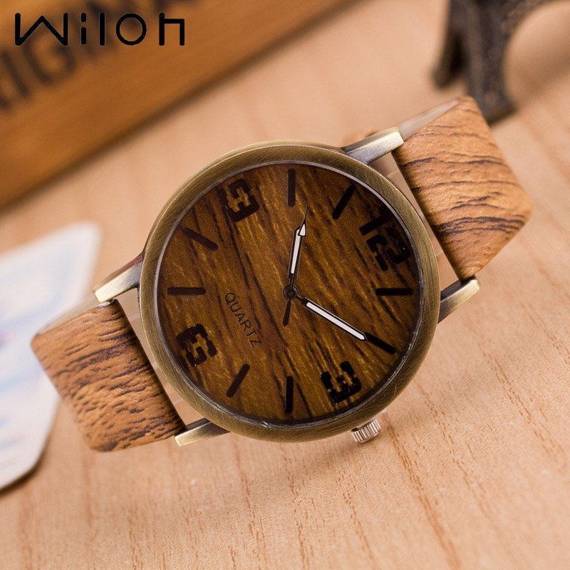 Hot Simulation Wooden Men Quartz Watches Casual Wooden Color Leather Strap Watch Wood Male Wristwatch Relojes Relogio Masculino