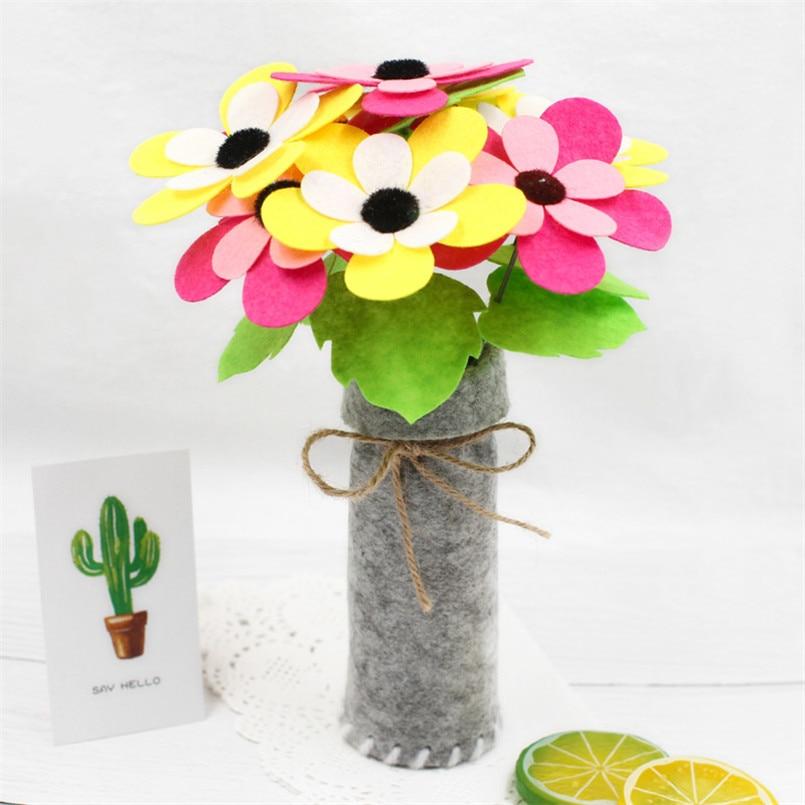 2Pcs/set DIY Handmade Non-woven Simulation Flower Pot Crafts Toys Children Kindergarten Art Material Pack Learning Toy For Kids