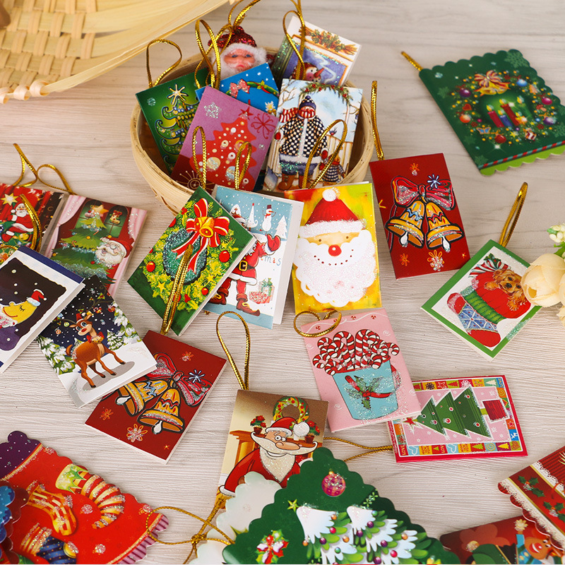 20 Pcs Christmas Tree Accessories Greeting Cards Mini Message Card