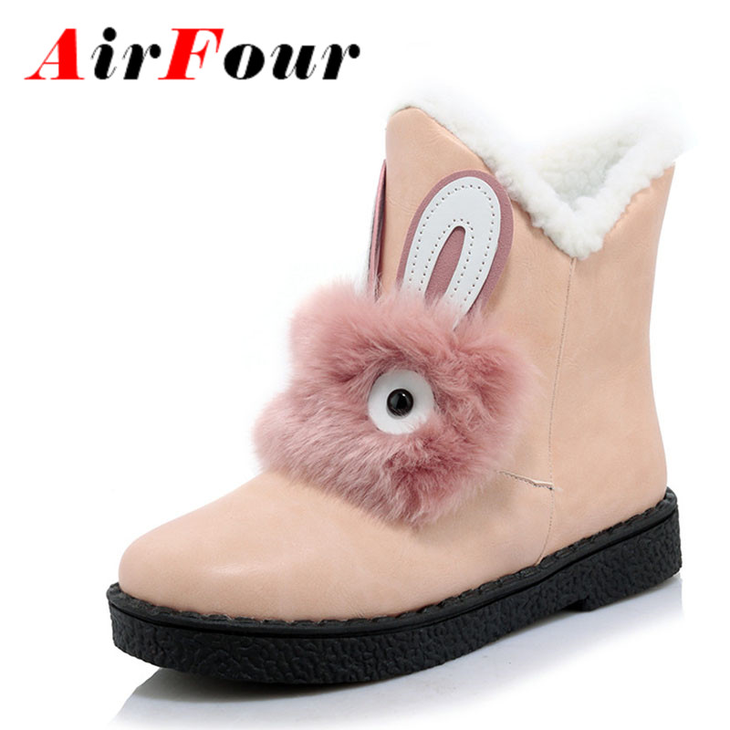 ФОТО Airfour New Fashion Ankle Winter Boots for Women Slip-On Round Toe Flat With Fashion Charm Lady Black Shoes Large Size 34-45