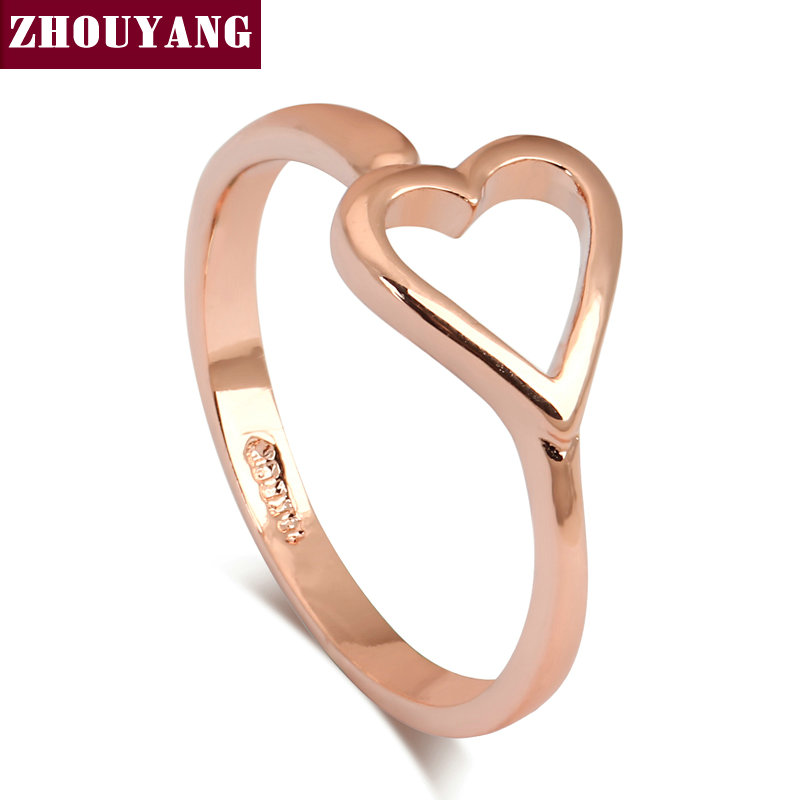 8289f472c بسيط OL نمط موجزة القلب حلقة روز الذهب اللون مقاسات كاملة بالجملة للنساء  حزب الزفاف هدية أعلى جودة ZYR166