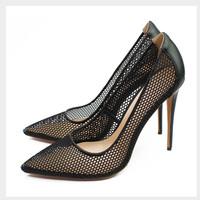 2018 New grid hollow out high heels pumps sexy pointed toe party wedding shoes fashion women stilettos black gold