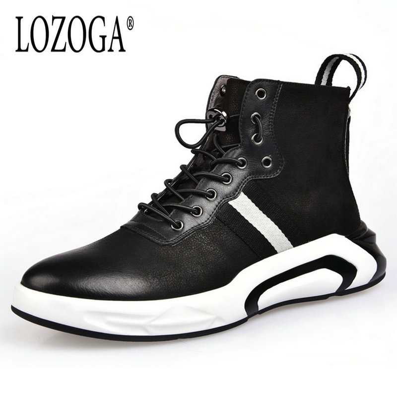 LOZOGA Men Shoes High-TOP Ankle Boots Luxury Trainers Genuine Leather Sneaker Winter Boots Casual Brand Zip Flat Black Shoes