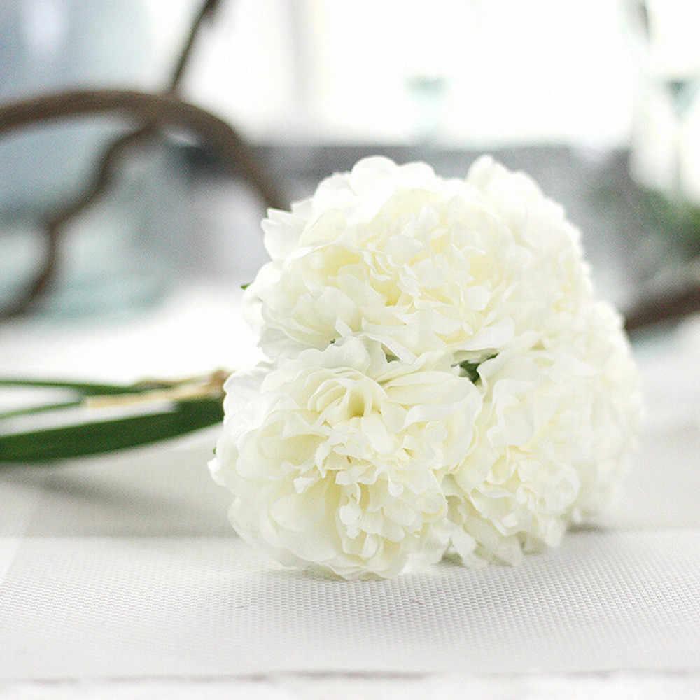Seda artificial falsa flores peonía Floral ramo de novia Hortensia A Feb 19 boda fiesta 1 ramo 5 cabezas peonía flor