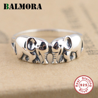 BALMORA New Animal Ring 100 Real 925 Sterling Silver Elephant Rings For Women Men Child Gifts