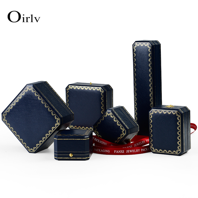 cbabe8d9cf1a Oirlv elegant blue color PU leather gift box ring necklace bracelet  packaging boxes with lock for wedding proposal gifts holder -in Jewelry  Packaging ...