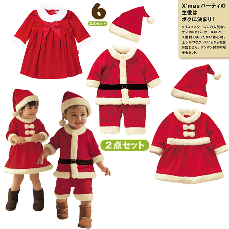 New baby rompers 2pcs set newborn christmas Santa Claus bebe fleece lining romper+hat suit infants New Year clothes Costume