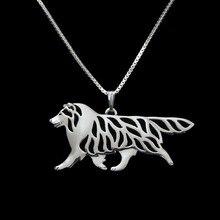 Золото и серебро 1 шт. шотландская овчарка движение ожерелье 3D вырезанный Щенок Собака Любовник кулон мемори ожерелье s Рождественский подарок
