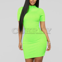 Cuerly neon green orange solid high neck short sleeve waist dresses 2019 summer women stretchy casual streetwear party cl