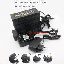 ЕС/США AC 85-245 В к DC 5 В/12V24V/1A 2A 3A 5A 6A 8A 10A адаптер питания драйвер переключатель для 3528 530 5050 светодиодный