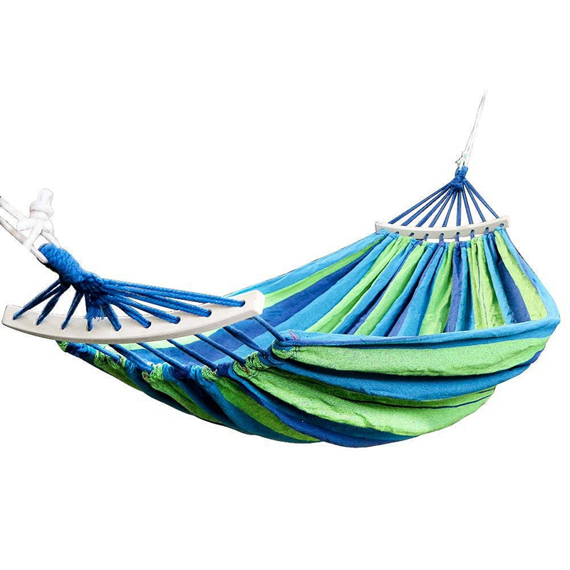 HOT-Double Hammock 450 Lbs Portable Travel Camping Hanging Hammock Swing Lazy Chair Canvas Hammocks(Blue)