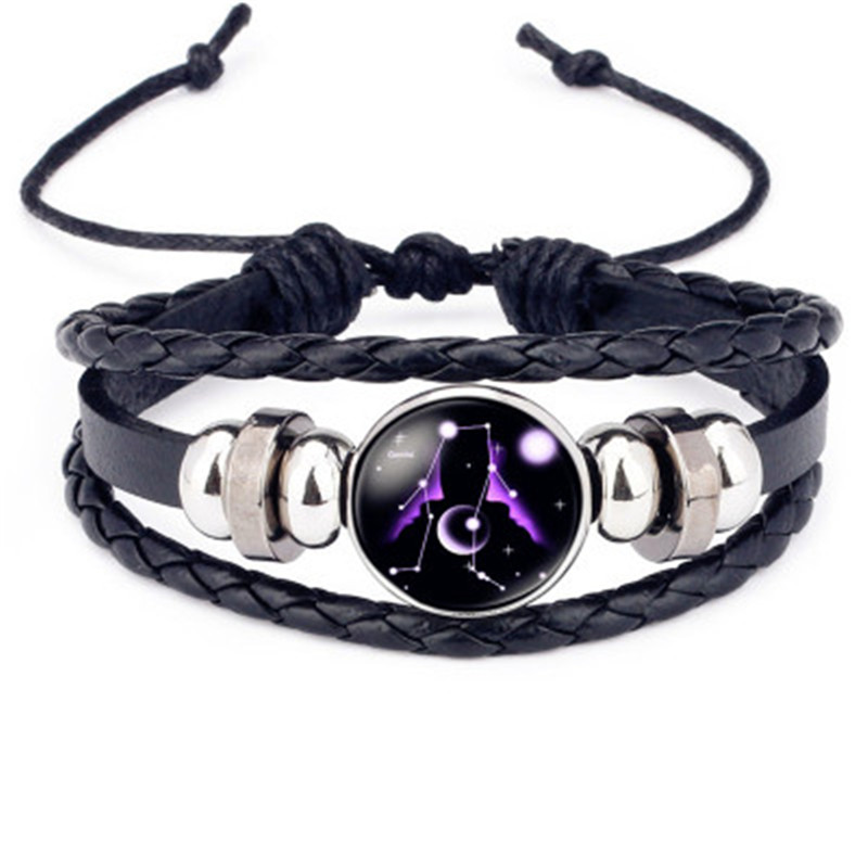 Fashion Luminous 12 Constellations Leather Bracelet Zodiac Sign with Beads Bangle Bracelets For Men Glow in the Darkness Jewelry 5