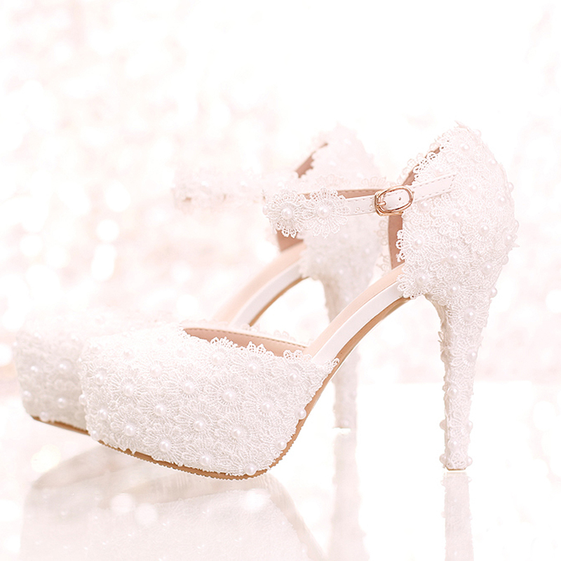 White Lace Flower Bridal Shoes High Heel Round Toe Fashion Wedding Pumps with Ankle Straps Women Sandals Bridesmaid Shoes koovan wedding pumps 2017 new fashion pearl white lace bridal women wedding shoes high heel ladies genuine leather shoes