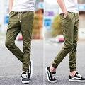 Moda cuff gota gancho cordão calças dos homens para a primavera outono corredores algodão calças dança Hip Hop calças masculinas
