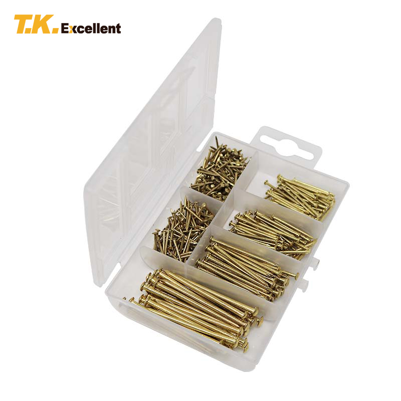 T.K.EXCELLENT 500pcs Decorative Fasteners Nais Round Semicircle Head Q195 Steel Nails for Woodworking Plated Brass Nails