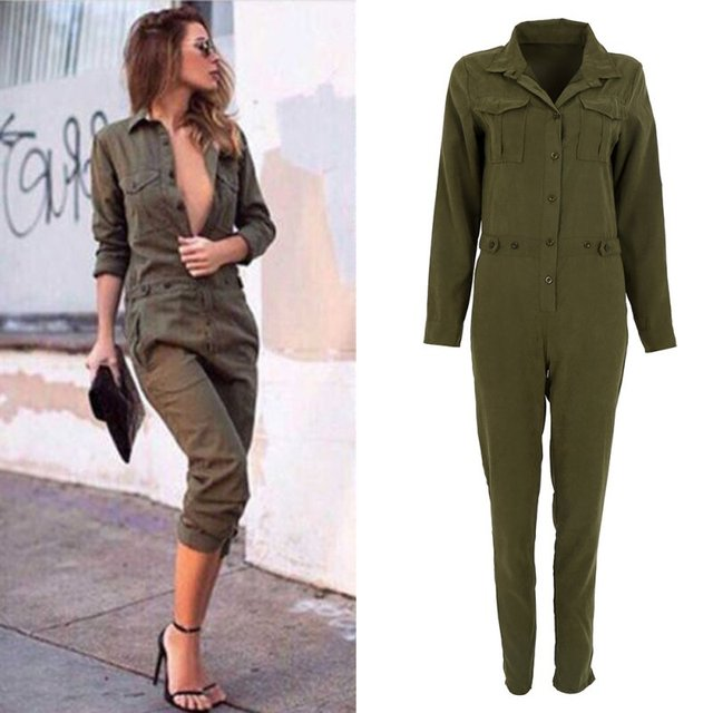 c7d0cb7c763 Army Green Rompers Women Jumpsuit Sexy Bodycon Party Lapel Long-sleeved  Playsuit Trousers Stylish