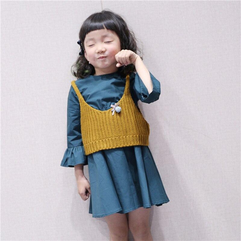 Baby clothing/Korean style/2018/Spring/girl/dress /girl Princess dress/ /Sleeveless/ small children knitted dress girl