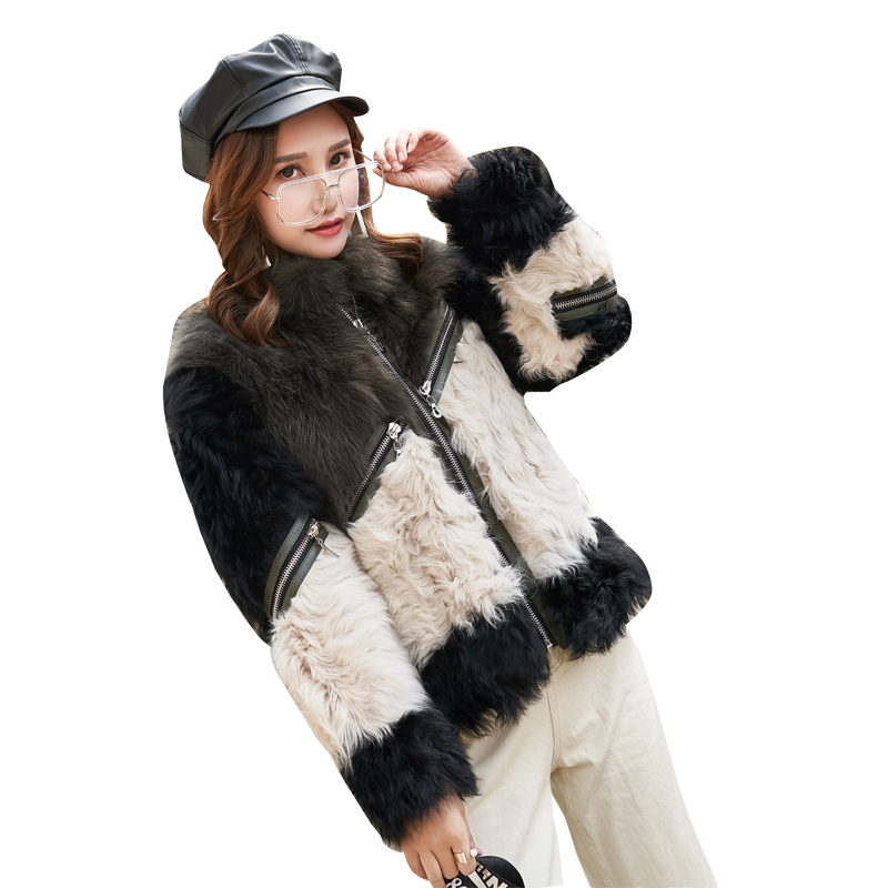 Female natural fox fur & lamb fur jacket with collar for women European design Motorcycle style casual fur coat with zipper