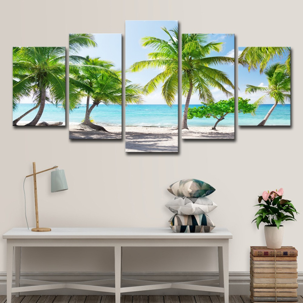 5P0147 HD Printed Canvas Poster Home Decor Modular Pictures Frame 3 Pieces Santa Catalinna Island Beach Coconut Trees Paintings PENGDA (17)
