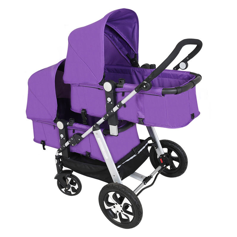Twins stroller high landscape second child baby stroller double fold back and forth to sit fashion twins stroller four color to choose hot twins baby stroller with good shock absorption folded double child stroller