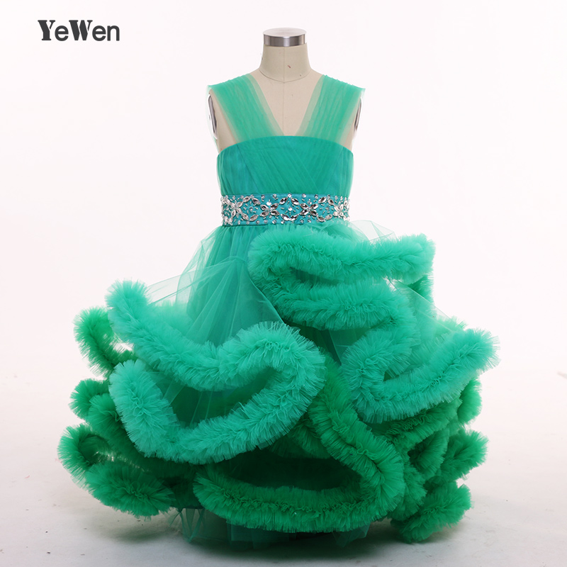 YeWen Cloud   Flower     Girls     Dresses   for Wedding Kids Pageant   Dress   First Holy Communion   Dresses   for Little Baby Party Prom   Dress