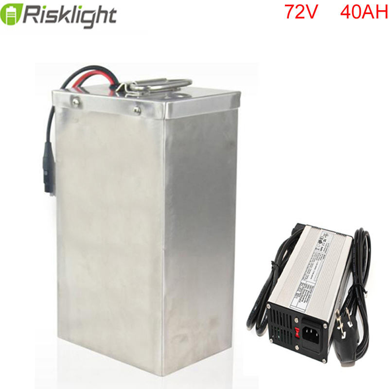 High Power 72V 40Ah Lithium Battery for Electric Bike Mini Car Golf Car with Portable Handle Stainless Case