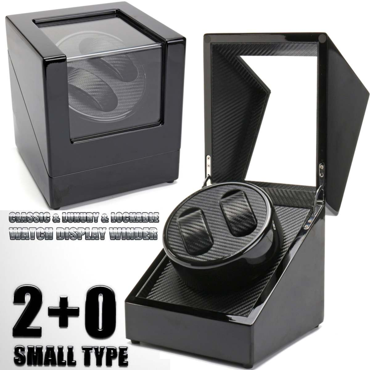 Double Watch Winders Wooden Lacquer Piano Glossy Black Carbon Fiber Quiet Motor Storage Display Watches Box US Plug 2019 New | Fotoflaco.net
