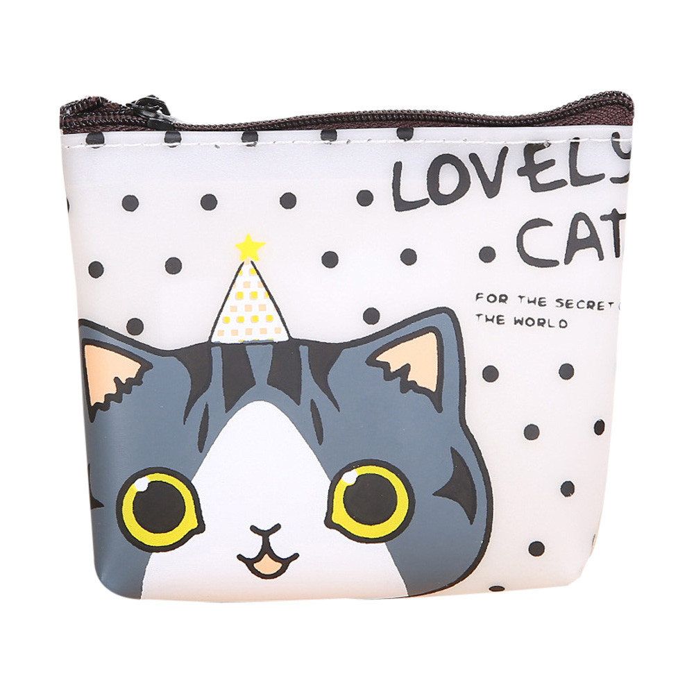 Fashion credit card holder Women Girls Cute Cat Fashion Coin Purse Wallet Bag Change Key Holder coin purse bolsos mujer#5 women 3 cute cat short wallet animal printing purse card holder coin bags