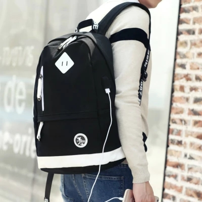 fashion trend USB charging leisure canvas backpack high school college student bag computer travel bag vintage canvas backpack fashion canvas rucksack daypack leisure college bag travel school bags unisex computer bag backpacks