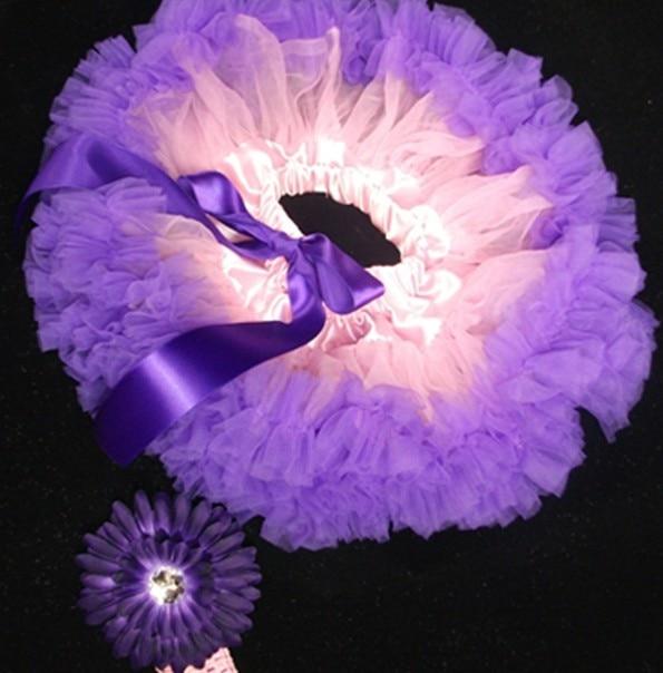 Детская юбка-пачка светло-розового и фиолетового цвета, комплект цветковых оголовьев для маленьких девочек, детская юбка-пачка с повязкой на голову - Цвет: light pink purple