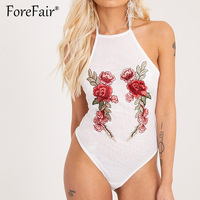 Forefair Trendy Floral Embroidery Bodysuit Women Bandage Backless Halter Romper Sexy High Elastic Corset Jumpsuit