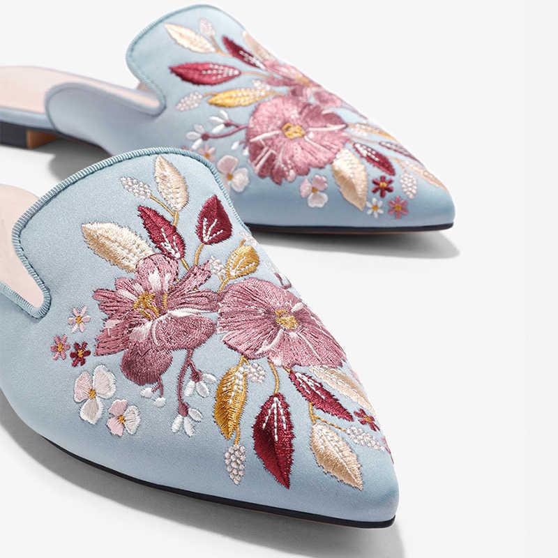 Kadın Sandalet nakış nokta ayak düz katır ayakkabı kadın bayanlar süet yazlık terlik ayakkabı kadın ayakkabı 2019