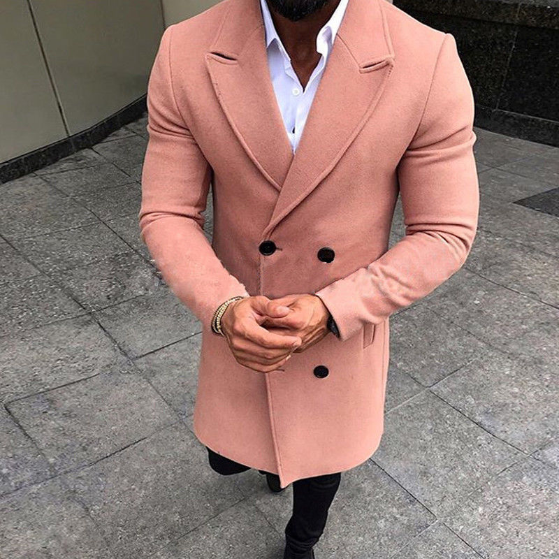 5 Colors Men Winter Double Breasted Pockets Windproof Trench Coat Outwear Slim Smart Casual Warm Overcoat 5 Colors Men Winter Double Breasted Pockets Windproof Trench Coat Outwear Slim Smart Casual Warm Overcoat Long Thicken Peacoat