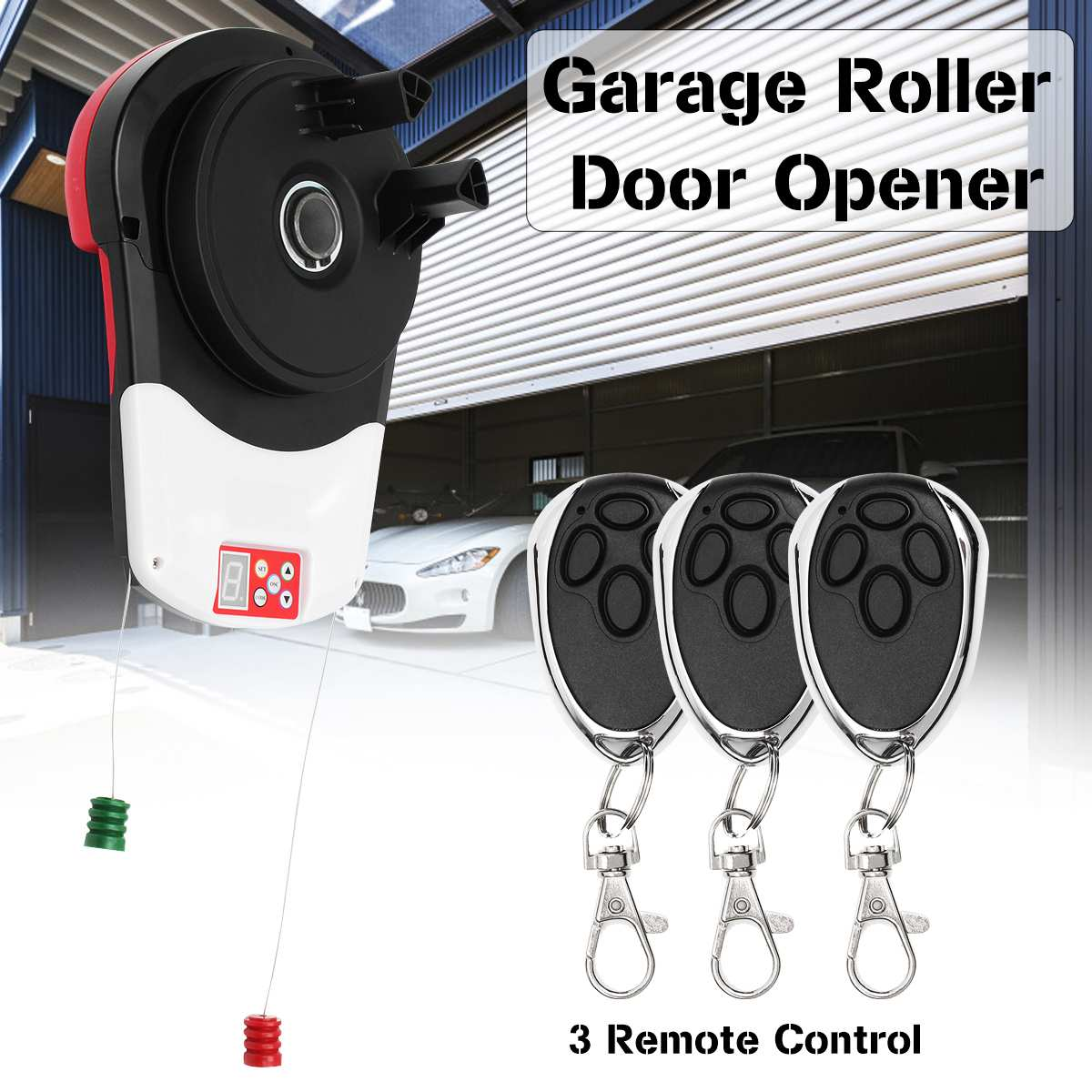 110V 600N Garage Roller Door Auto Opener Motor With 3 Remote Control Electric Operator For Rolling Gate Automatic Door Operators