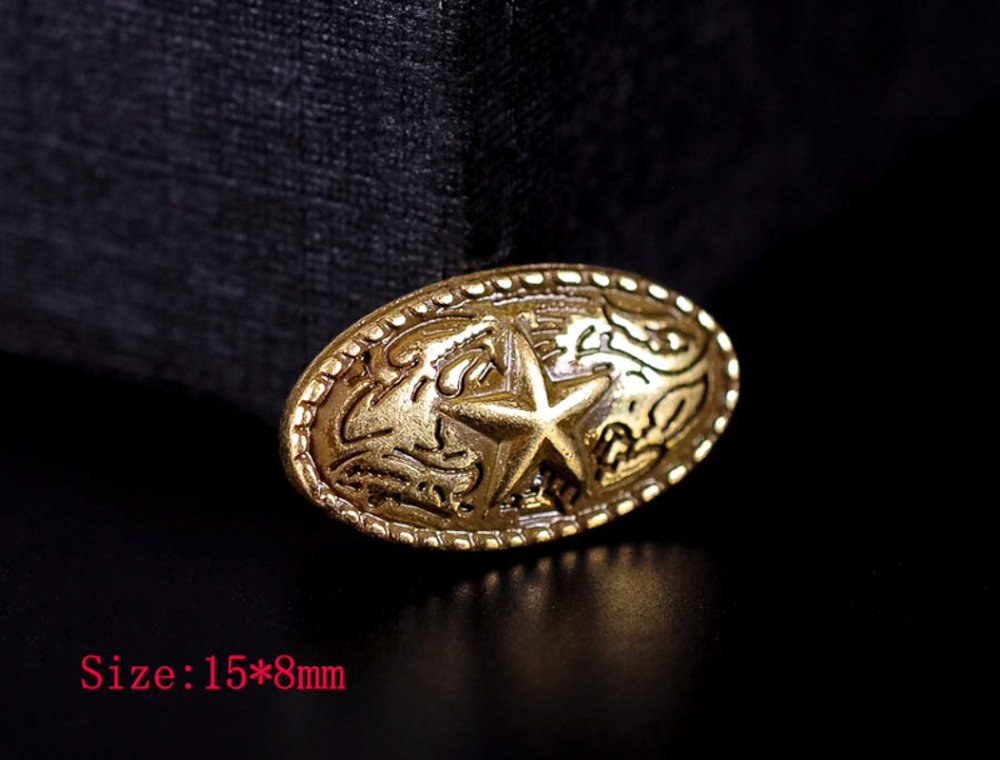 10X 15*8mm Quality Antique Brass /Silver Western Texas Star Leathercraft Decorative Metal Stud Rivet Oval Button Conchos