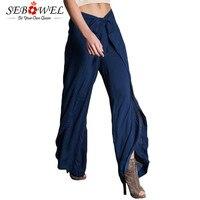 Sebowel المرأة الصيف ارتفاع الخصر واسعة الساق السراويل التعادل الجبهة توليب شق السراويل بالازو pantalones عارضة بنطلون pantalon فام