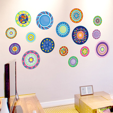 [shijuekongjian] Colorful Dishes Wall Sticker Vinyl Material DIY Hollowware Decals for Living Room Kitchen Decoration