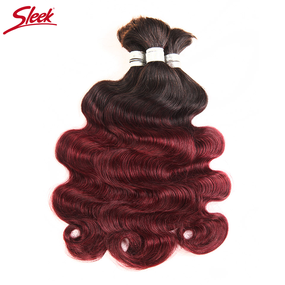 Sleek Hair No Weft Remy Brazilian Body Wave Bulk Human Hair For Braiding Ombre 99J Human ...